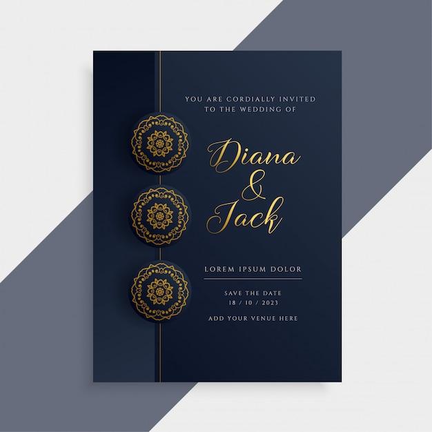 Free Luxury Wedding Invitation Card Design In Dark And Gold