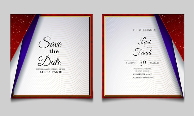 Luxury wedding invitation card design set