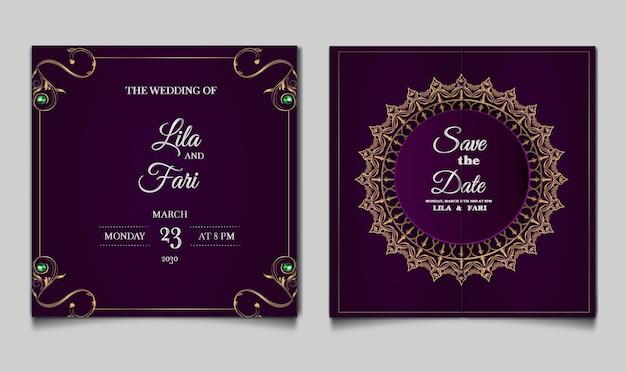 豪華な結婚式の招待カードのデザインセット