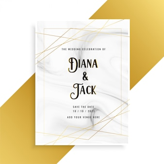 Luxury Wedding Invitation Card Design With Marble Texture