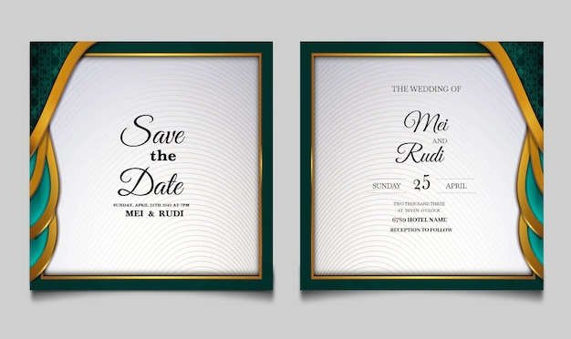 Luxury wedding invitation card set
