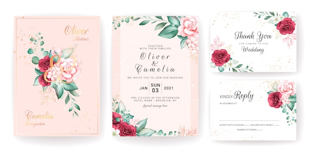 Luxury wedding invitation card template set with gold watercolor floral decorations and glitter.