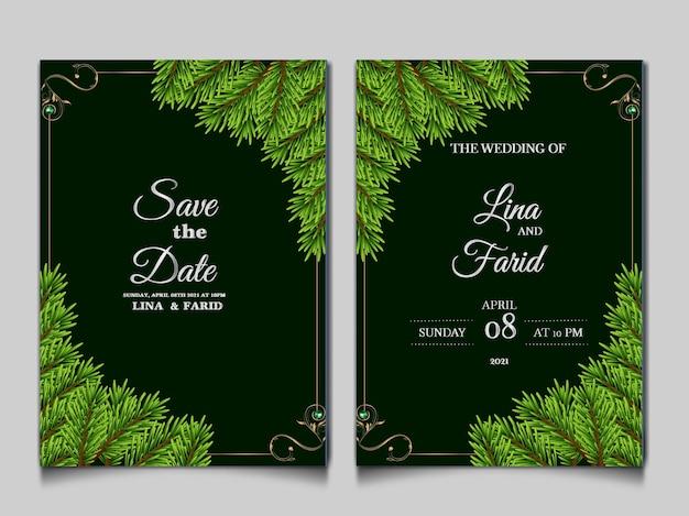 Insieme di modelli di carta di invito matrimonio di lusso