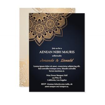 豪華な結婚式の招待状カードのテンプレート 無料ベクター