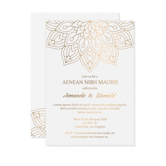 Luxury wedding invitation card template