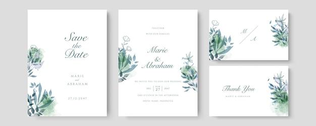 豪華な結婚式の招待カードのベクトル。緑の水彩赤面とゴールドのラインテクスチャでカバーデザインを招待