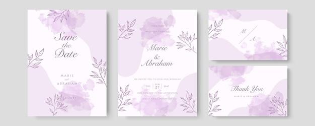 豪華な結婚式の招待カードのベクトル。紫の水彩赤面とゴールドのラインテクスチャでカバーデザインを招待