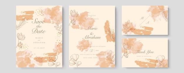豪華な結婚式の招待カードのベクトル。水彩の赤面とゴールドのラインテクスチャでカバーデザインを招待