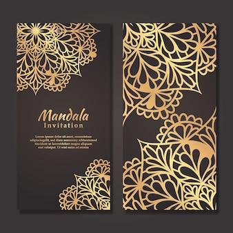 Роскошный свадебный пригласительный билет с золотым дизайном мандалы, шаблон свадебного приглашения мандалы