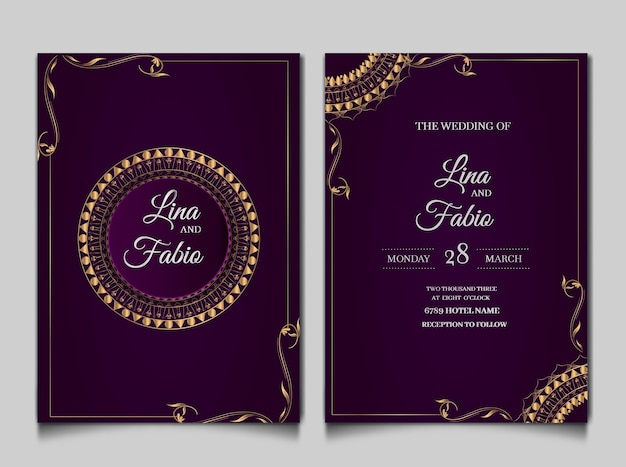 Luxury wedding invitation cards set