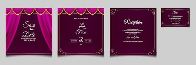 Luxury wedding invitation cards set