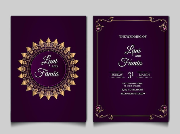 Luxury wedding invitation cards style monoline