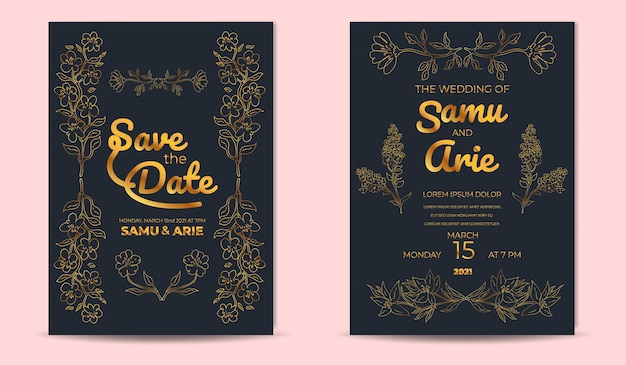 Luxury wedding invitation cards template with golden flowers line