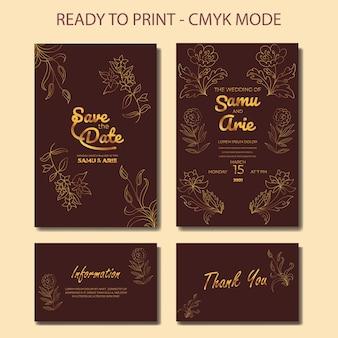 黄金の花のラインと豪華な結婚式の招待カードのテンプレート