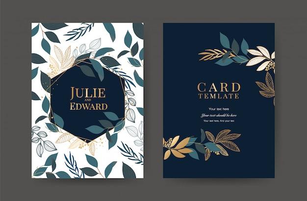 Luxury wedding invitation cards template
