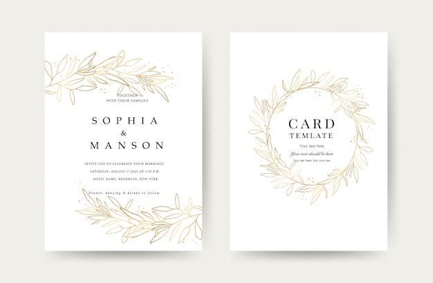 Luxury wedding invitation cards template
