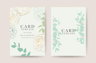 豪華な結婚式の招待状カードのテンプレート
