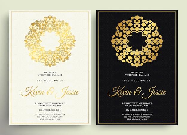 マンダラの豪華な結婚式の招待状