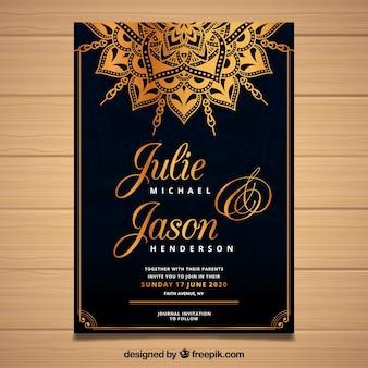 Luxury wedding invitation in mandala style