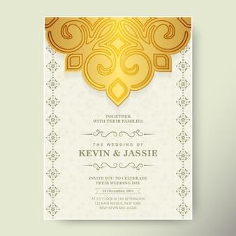 Luxury wedding invitation in mandala