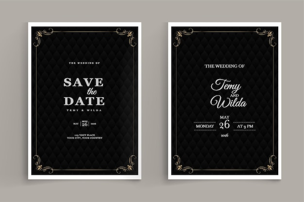 Luxury wedding invitation set