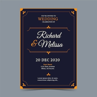 Luxury wedding invitation template concept