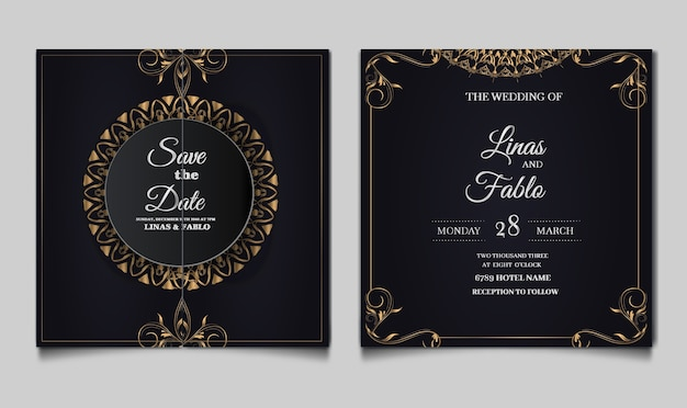 Luxury wedding invitation template design
