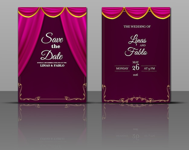 Luxury wedding invitation template set with realistic arch monoline