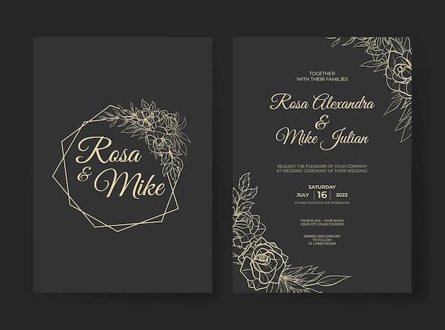 Роскошный шаблон свадебного приглашения с красивым контурным цветком