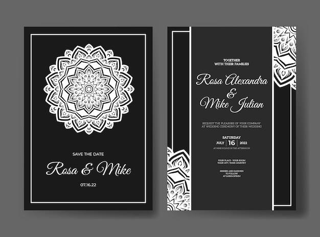 曼荼羅の装飾飾り付きの豪華な結婚式の招待状のテンプレート