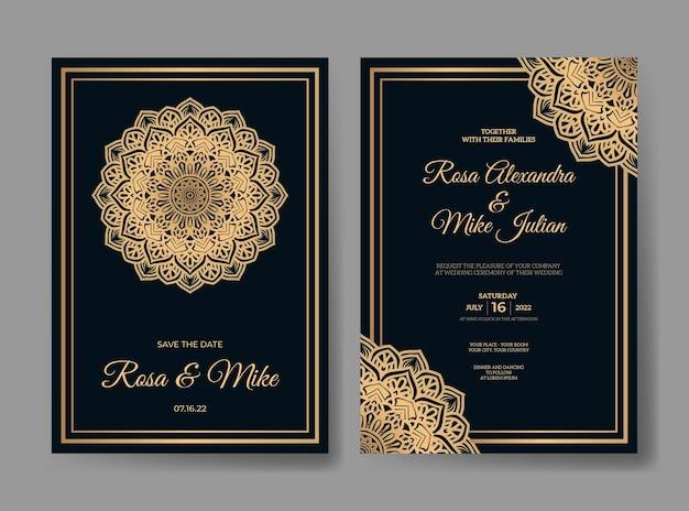 Роскошный шаблон свадебного приглашения с украшением мандалы