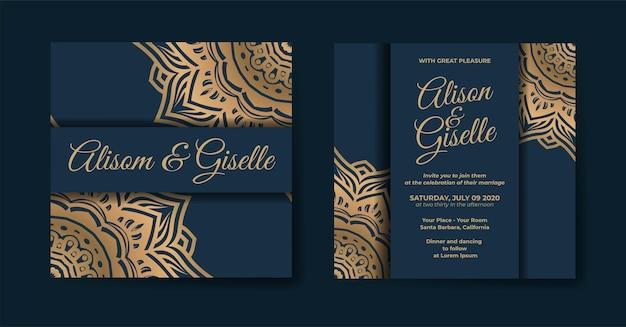 Роскошный шаблон свадебного приглашения с орнаментом мандалы