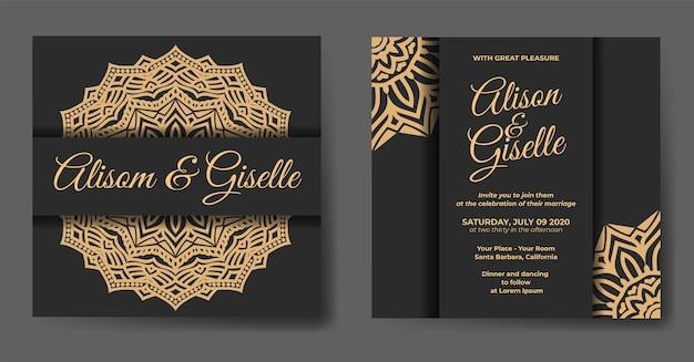 曼荼羅飾り付きの豪華な結婚式の招待状のテンプレート