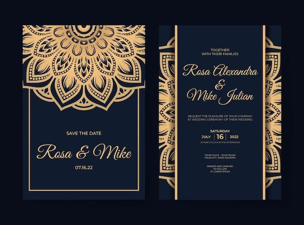 Luxury wedding invitation template with mandala