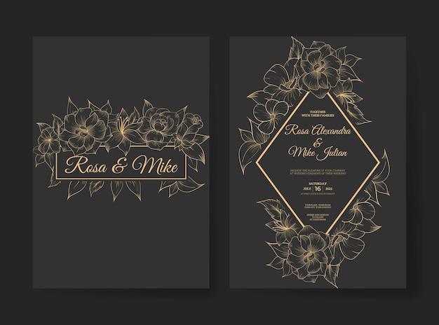 개요 꽃과 럭셔리 결혼식 초대장 서식 파일