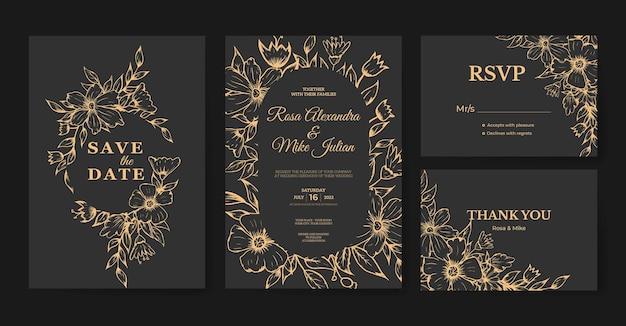 アウトライン手描き花柄の豪華な結婚式の招待状のテンプレート