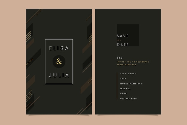 Шаблон приглашения на свадьбу класса люкс