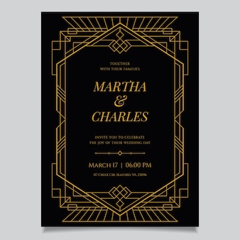 Luxury wedding invitation template