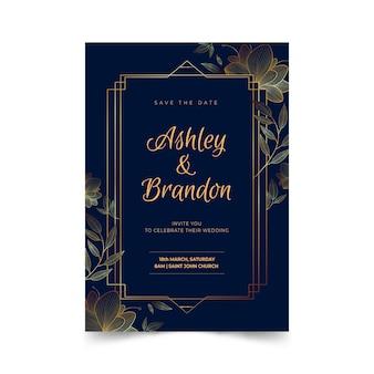 豪華な結婚式の招待状のテンプレート