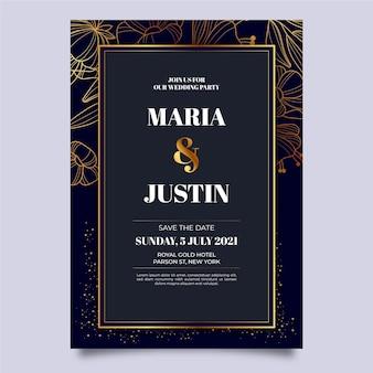Modello di invito a nozze di lusso