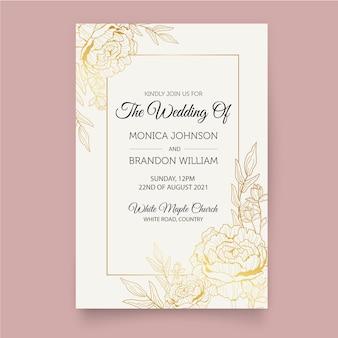 Роскошный шаблон свадебного приглашения