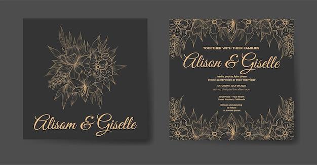 Роскошное свадебное приглашение с красивым цветочным шаблоном