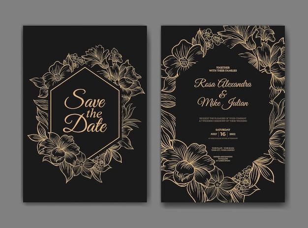美しいラインアートの花のテンプレートと豪華な結婚式の招待状