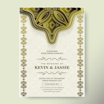 金の装飾が施された豪華な結婚式の招待状