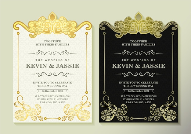Роскошное свадебное приглашение с золотым орнаментом