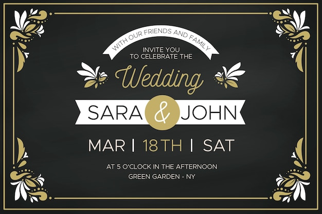Luxury wedding invitation with golden floral frames