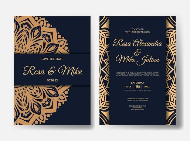 Luxury wedding invitation with mandala design