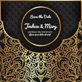 贅沢な結婚式招待状と曼荼羅飾り