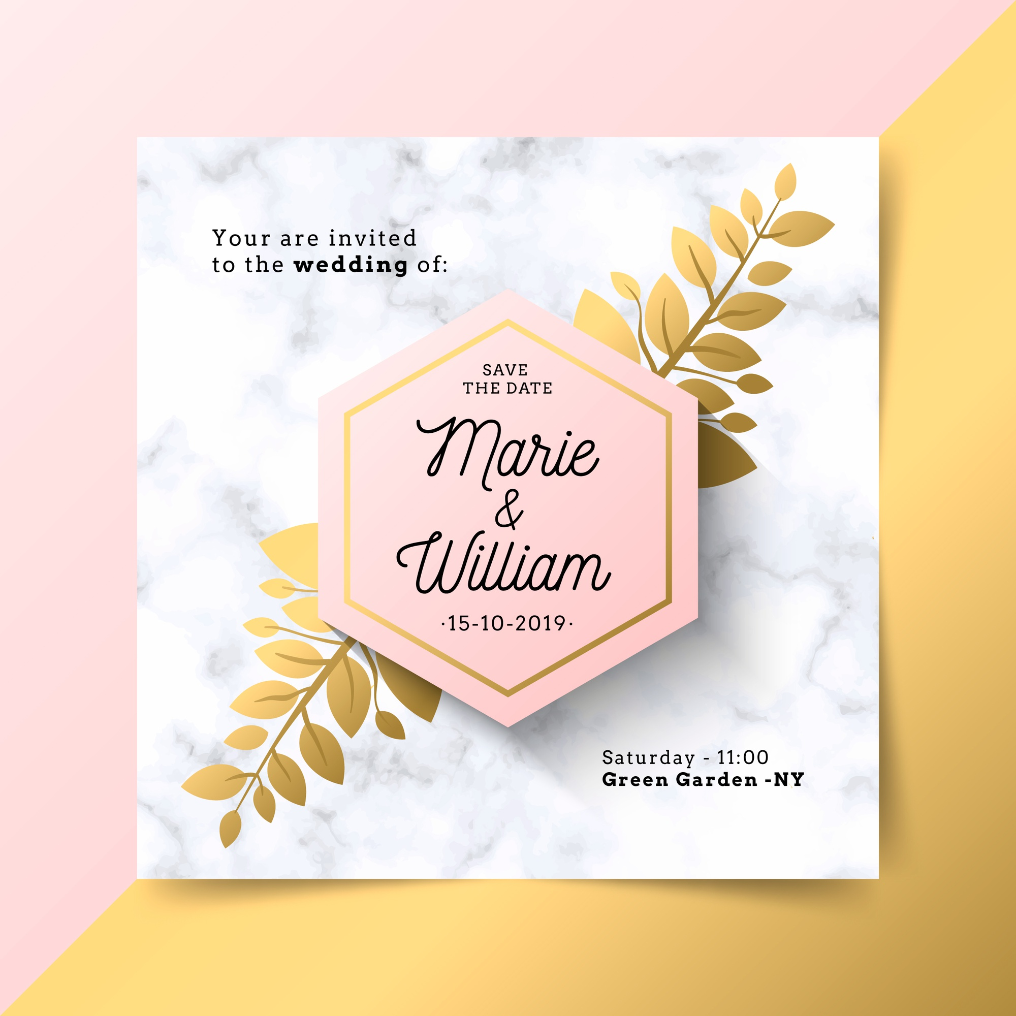 Luxury wedding invitation with marble texture