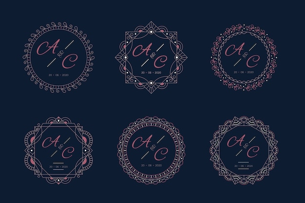Luxury wedding monograms with frame
